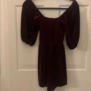 NWOT Urban Outfitters Maroon Velvet Mini Dress
